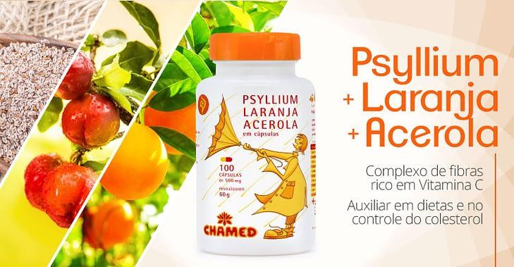 Psyllium com Laranja e Acerola - Rico em Vitamina C. Benefícios para dietas e colesterol